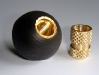 Rubber ball with threaded brass insert